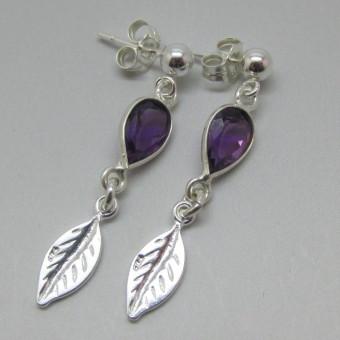 Amethyst and Silver Leaf Drop Earrings