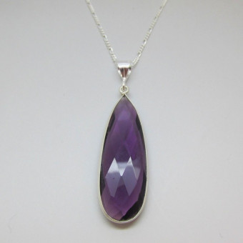 Amethyst  and Sterling Silver Gemstone Necklace