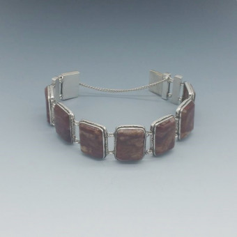 Pietersite and  Silver  Modernist Link Bracelet