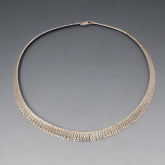 Textured Silver Italian Fringe Necklace