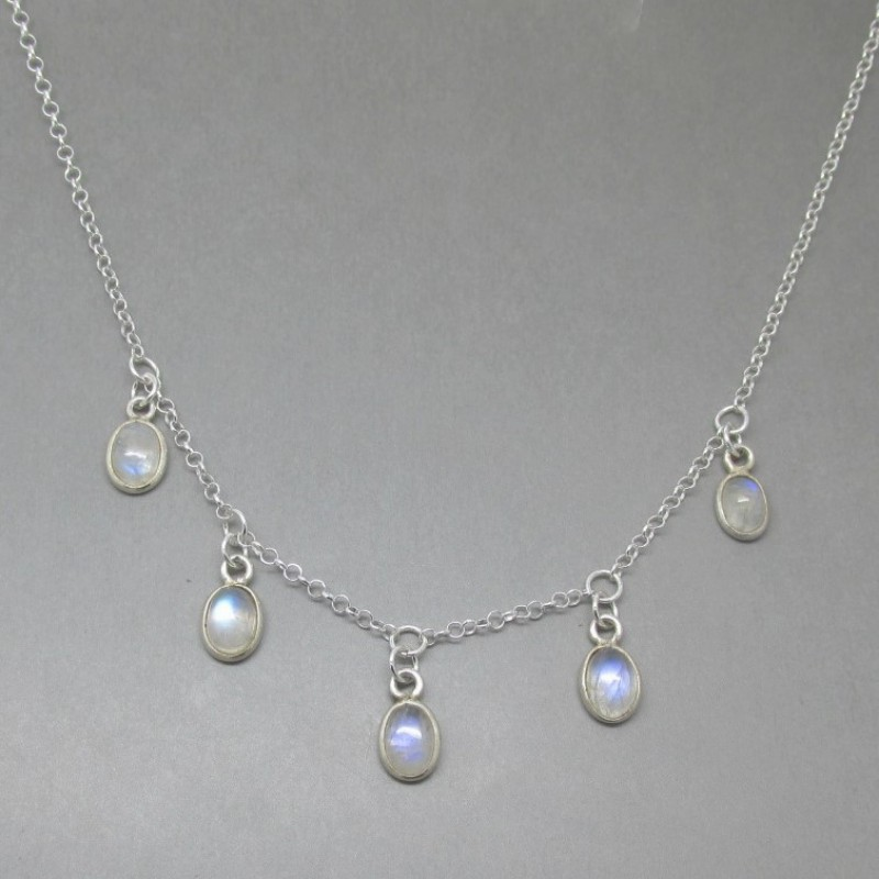 Multi moonstone silver mini drop necklace