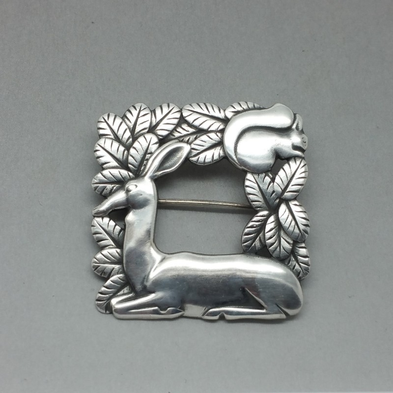 Georg Jensen Kneeling Deer and Squirrel Brooch