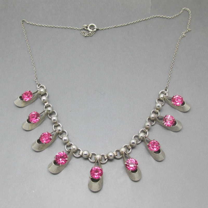 Hans Wullum silver pink crystal necklace
