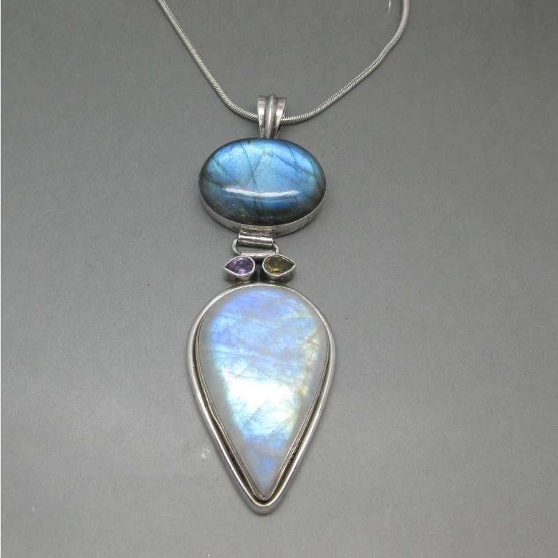 moonstone and labradorite large silver pendant