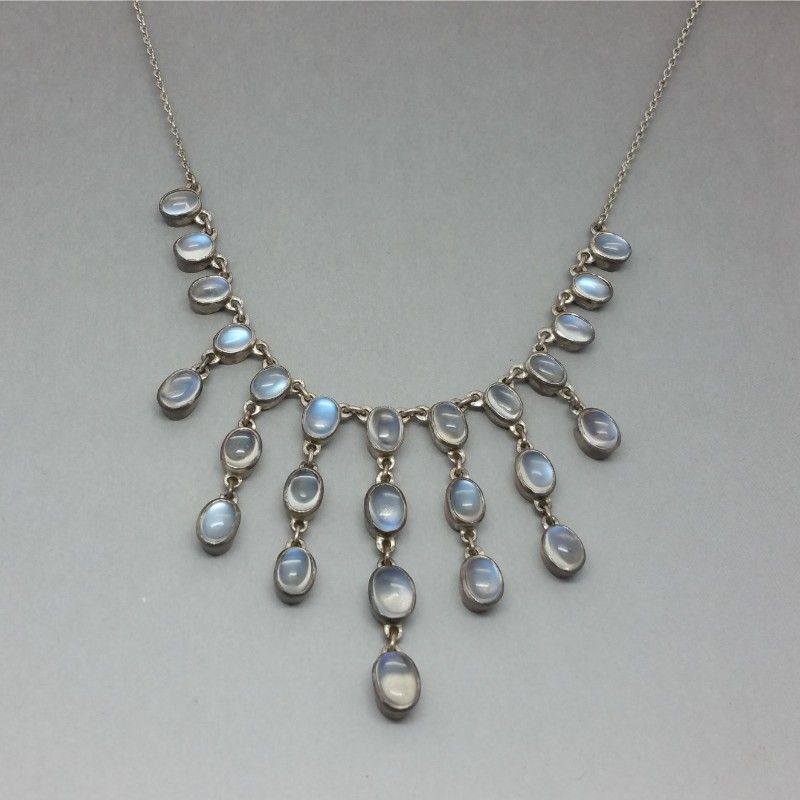 Blue moonstone and silver festoon necklace