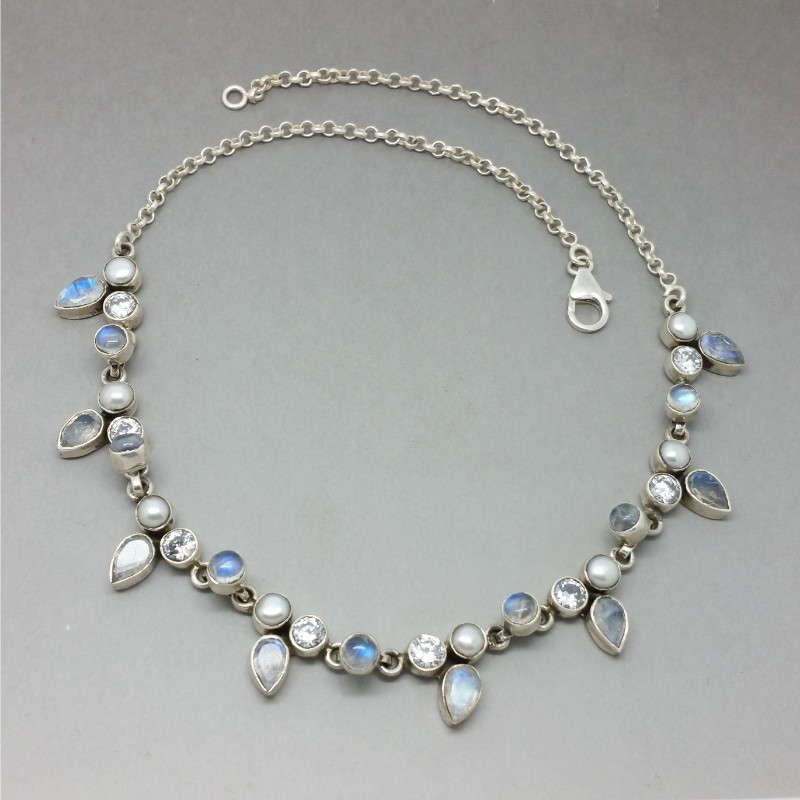 Blue moonstone and pearl necklace