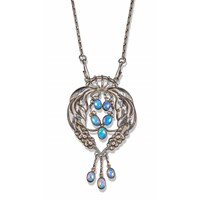Pendant no 5 opal and silver floral pendant by Georg  Jensen