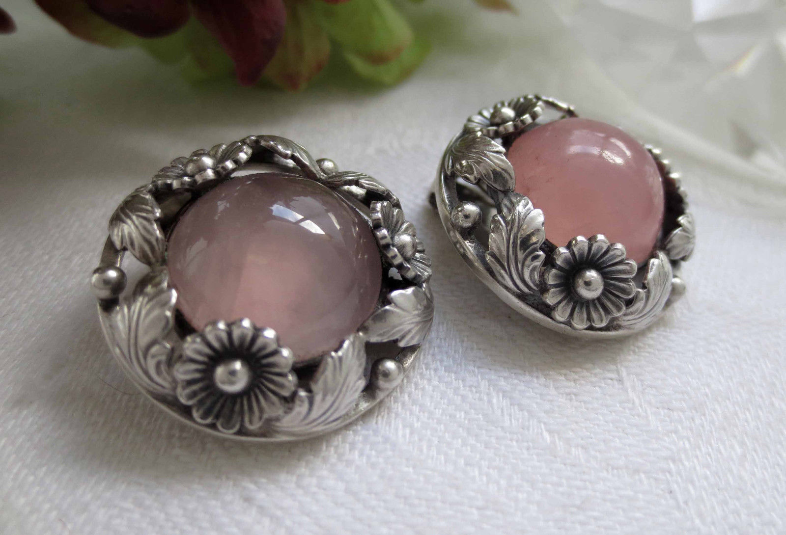 rose quartz and silver floral Ne From earrings