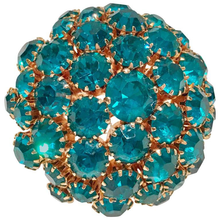 Swarovski blue crystal brooch