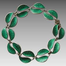 David Andersen green enamel leaves necklace