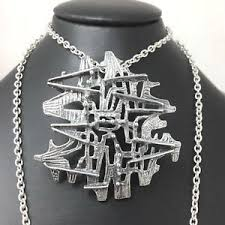 Else and Paul Studio large  modernist abstract silver necklace