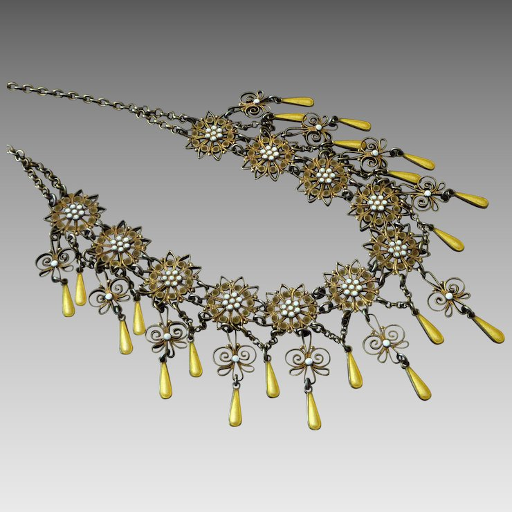 Marius Hammer silver gilt festoon necklace
