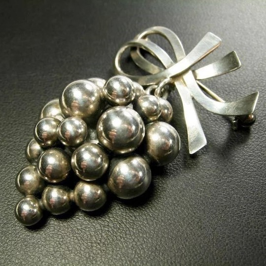 S Christian Fogh silver grapes brooch