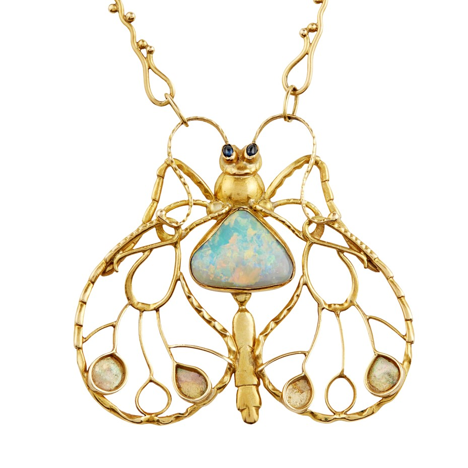Erik Magnussen stylised butterfly gemstone pendant