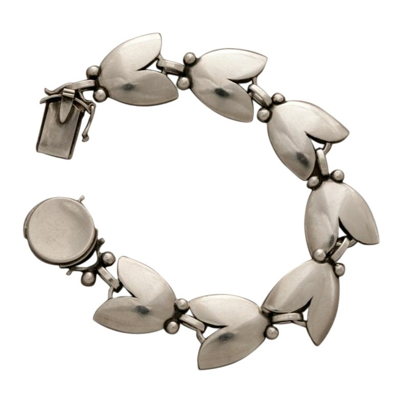Harald Neilsen silver leaves bracelet for Georg Jensen