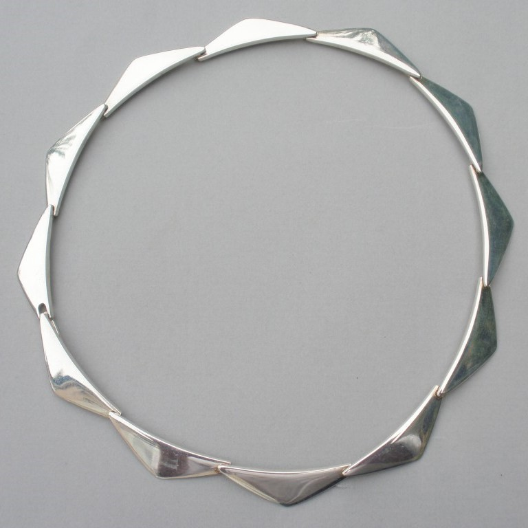 Hans Hansen 1970's silver peak necklace