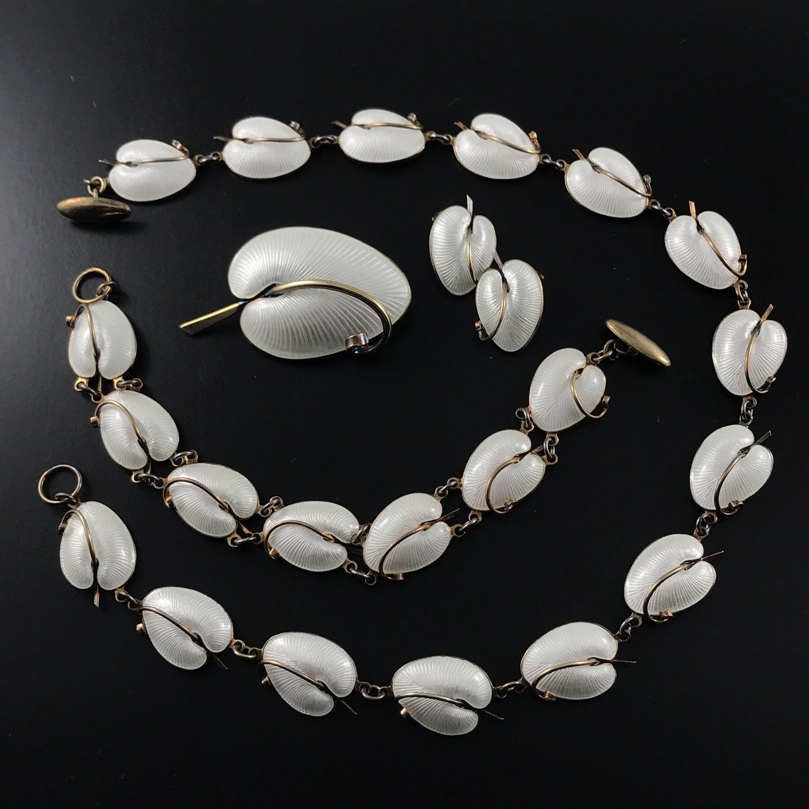 Vomer Bahner white enamel necklace braceket brooch
