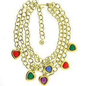 Givenchy gold crystal hearts necklace