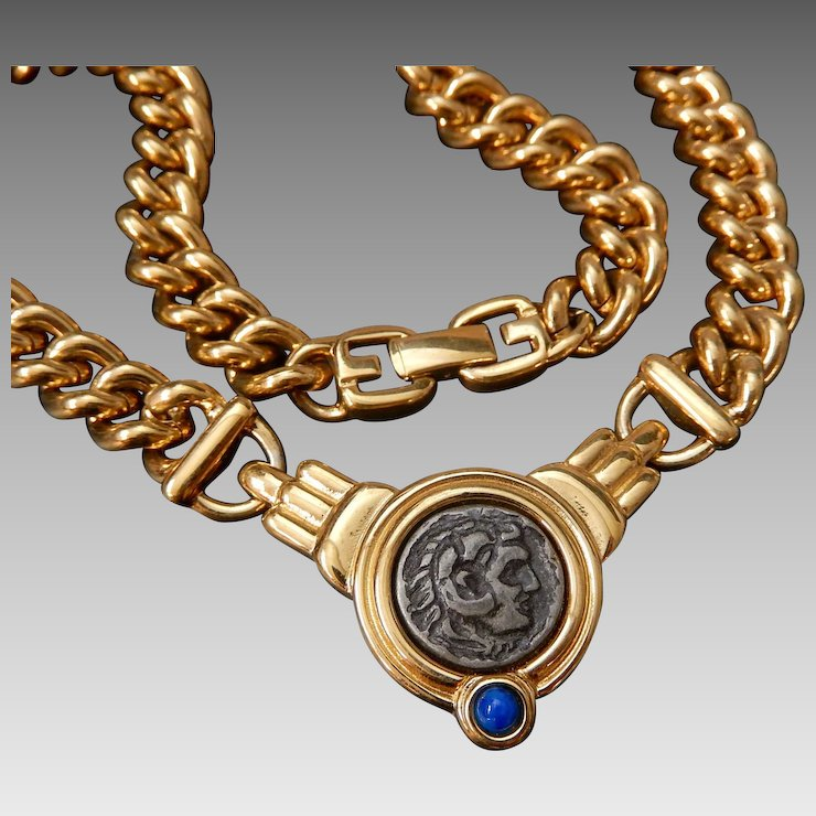 Givenchy roman coin gold plated necklace