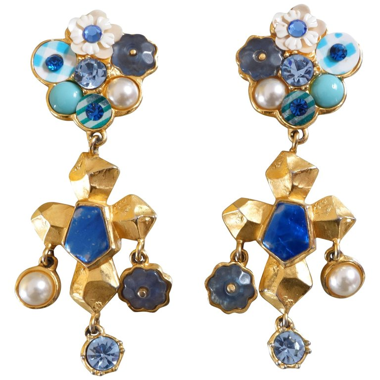 La Croix gilt and enamel earrings