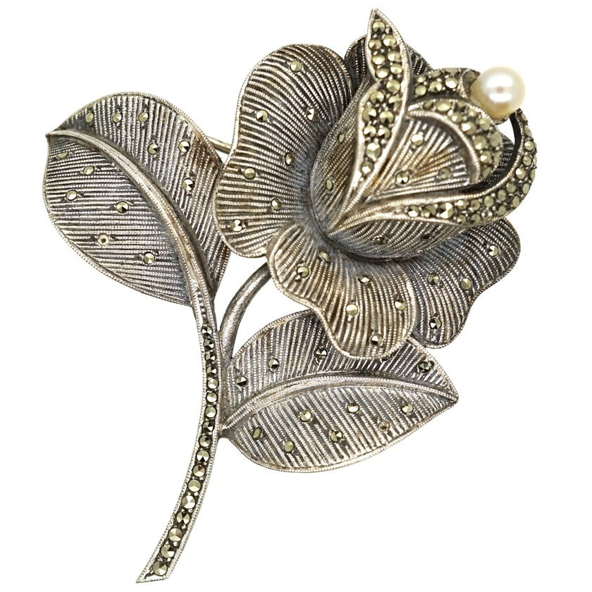 Farhner stylised silver and marcasite rose brooch