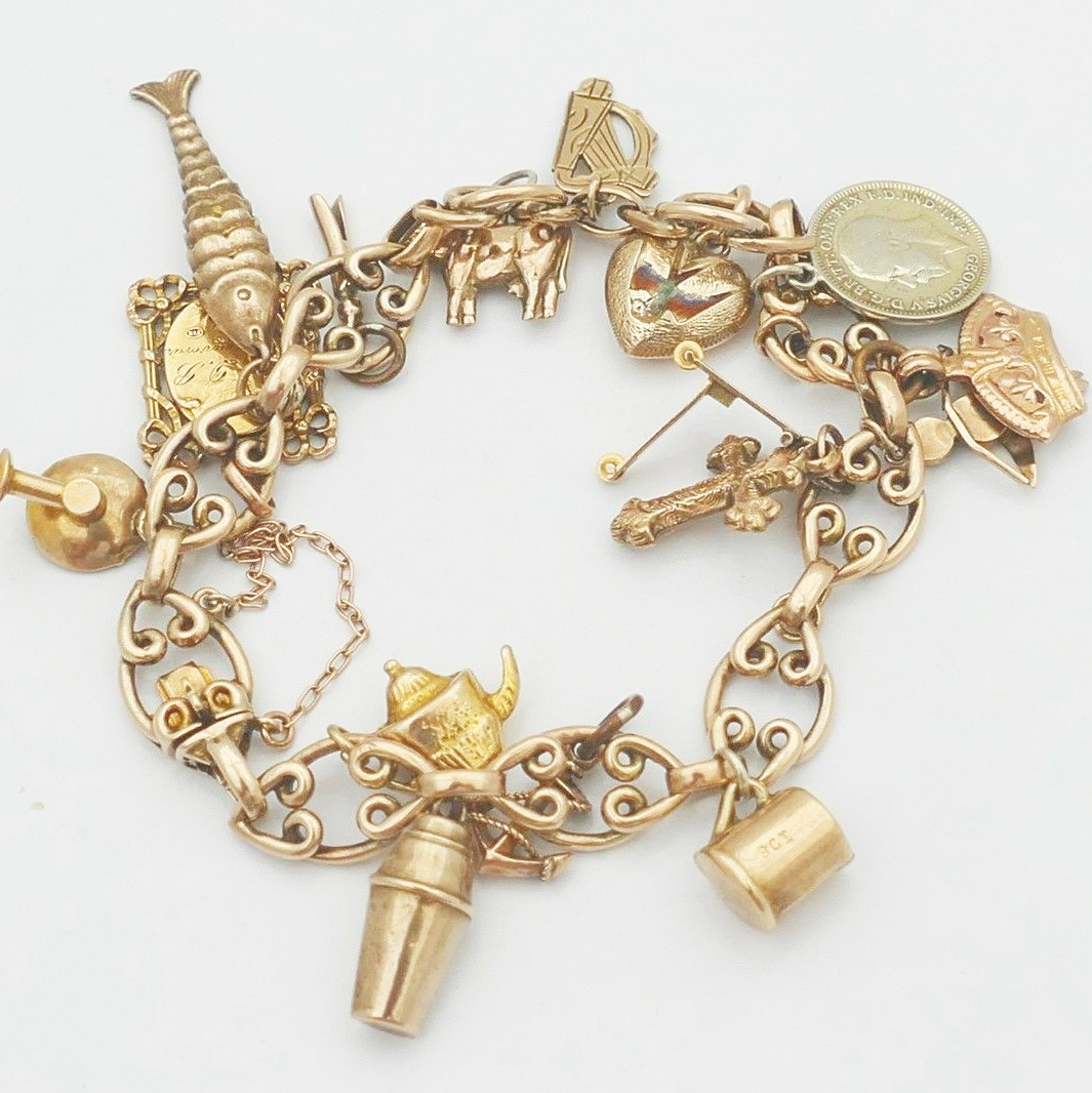 9 carat gold arts and crafts     9 carat arts and crafts gold vintage charm bracelet