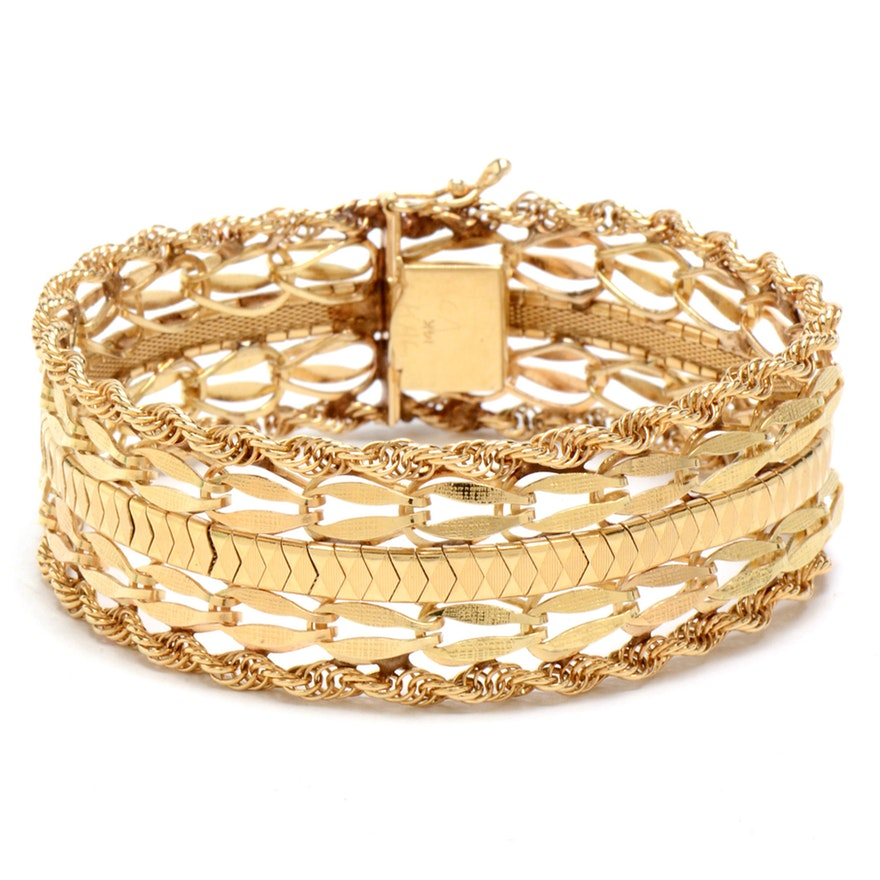 Yellow gold wide chain link bracelet