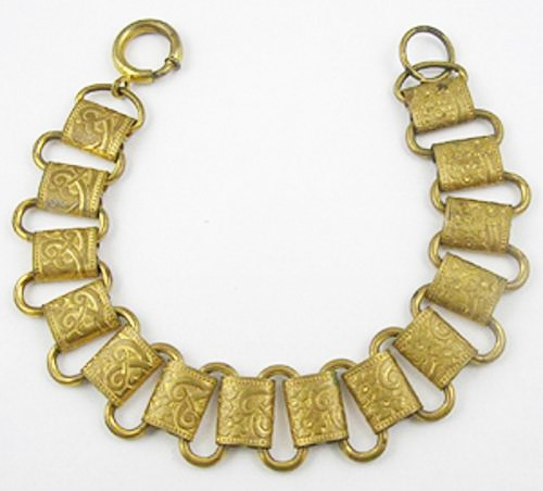 Victorian brass book chain bracelet