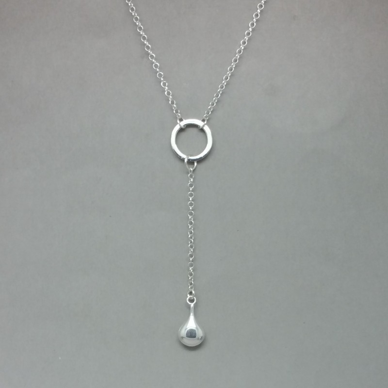 Sterling silver flat teardrop lariat necklace