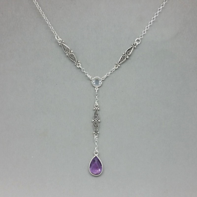 amethyst art deco silver lariat necklace