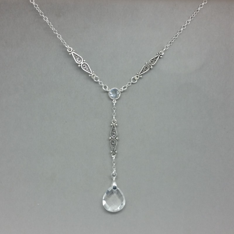 clear crystal art deco silver rlariat necklace