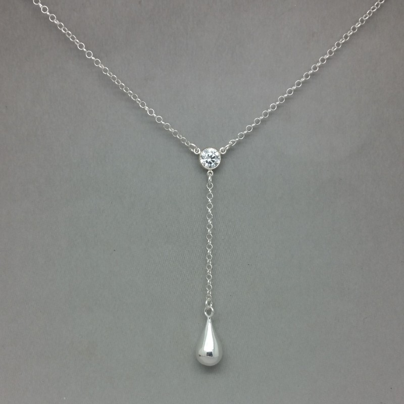 crystal and sterling silve teardrop lariat necklace