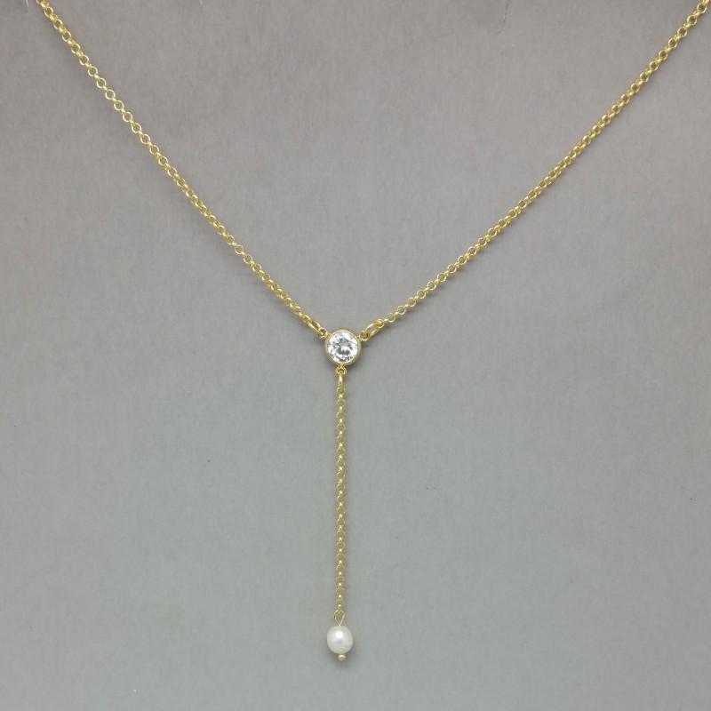 pearl, crystal, and gold lariat necklace